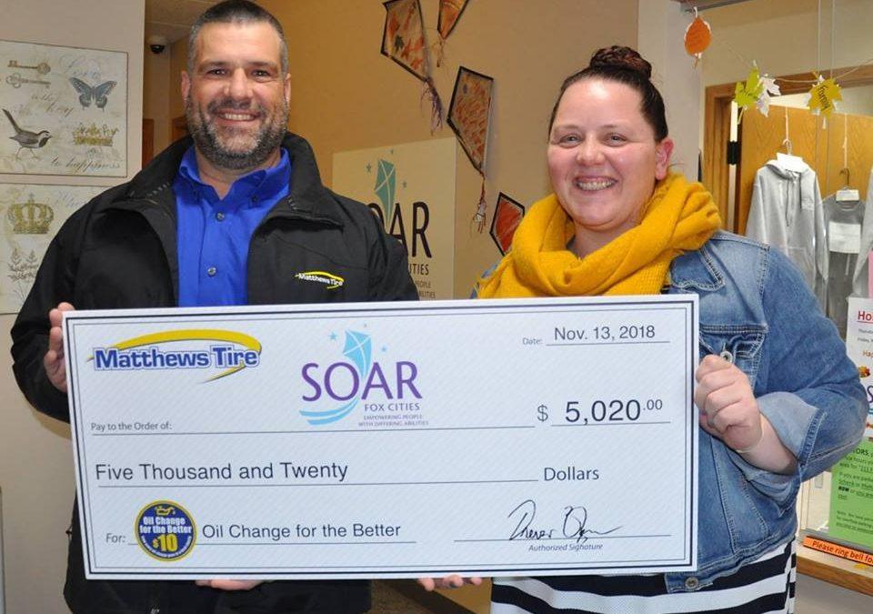 Matthews Tire Presents $5,020 Donation to SOAR Fox Cities